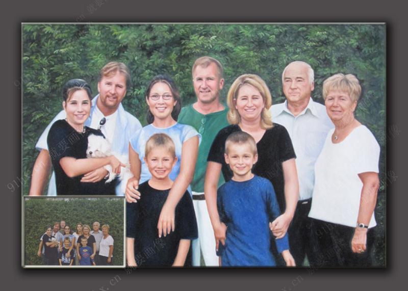 全家福肖像油画