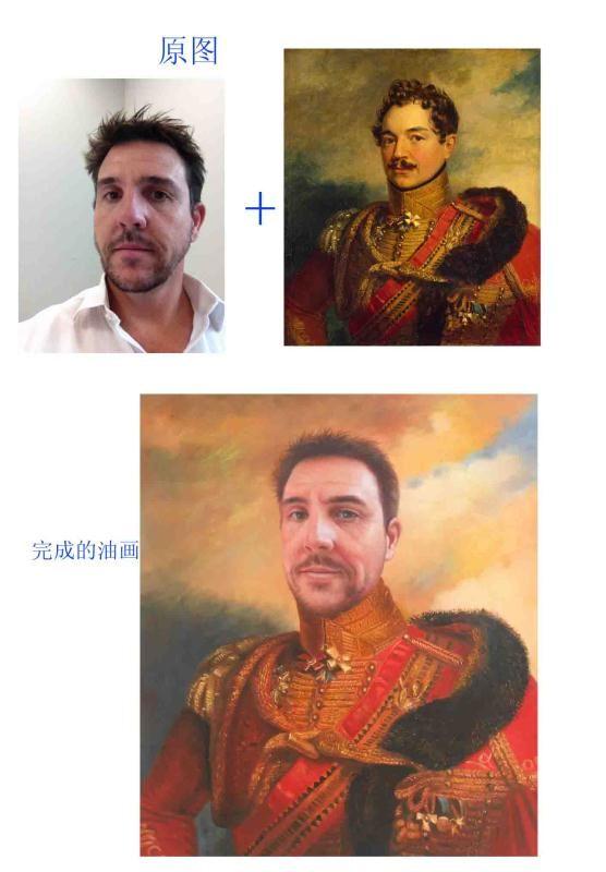 左边是要定制油画的客人的生活照片,右边是客人喜欢的古典人物油画稿