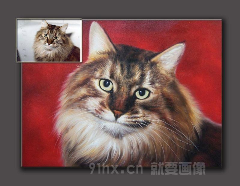 宠物肖像油画