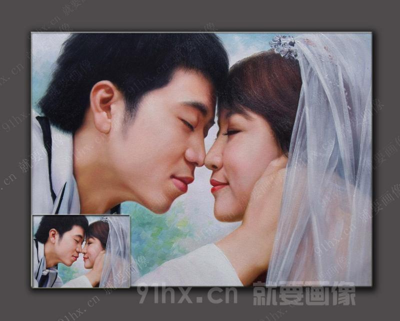 婚纱肖像油画