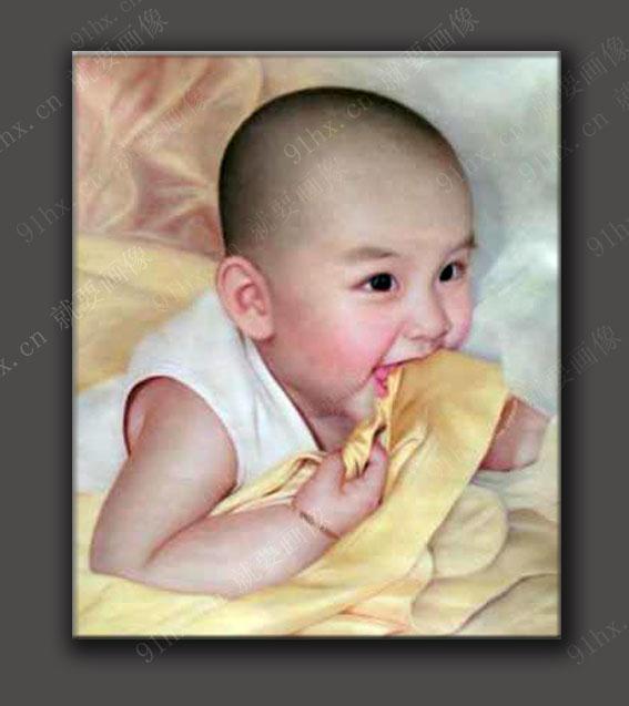 可爱的小孩子肖像油画