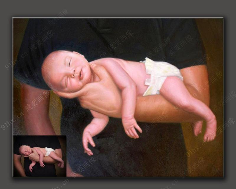 婴儿肖像油画