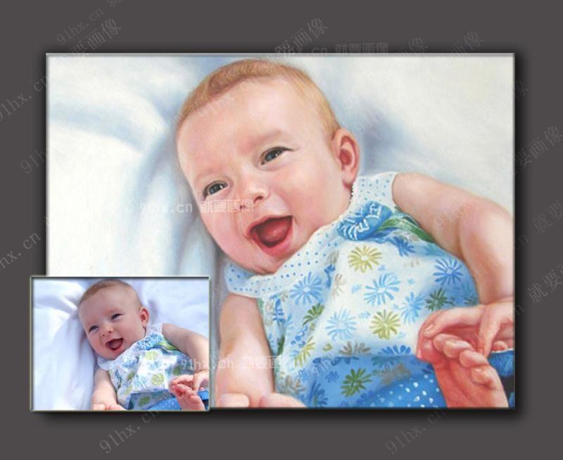 儿童人物肖像油画,照片定制手绘小孩油画