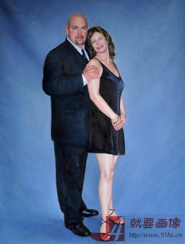 夫妻肖像油画手绘人物油画