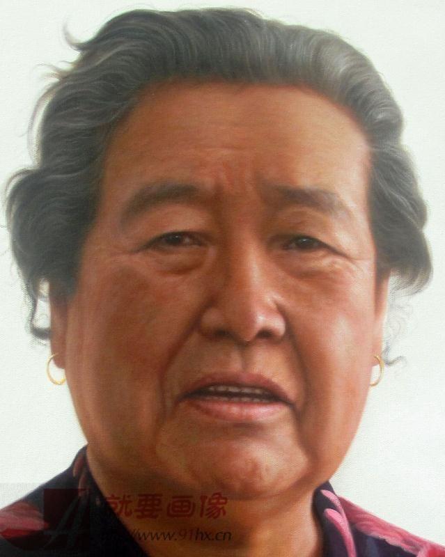 给奶奶定制的一幅画像脸部细节