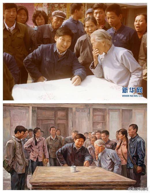 上图作品名为《中国梦·足球梦》,下图为现场照片.-油画中的习大