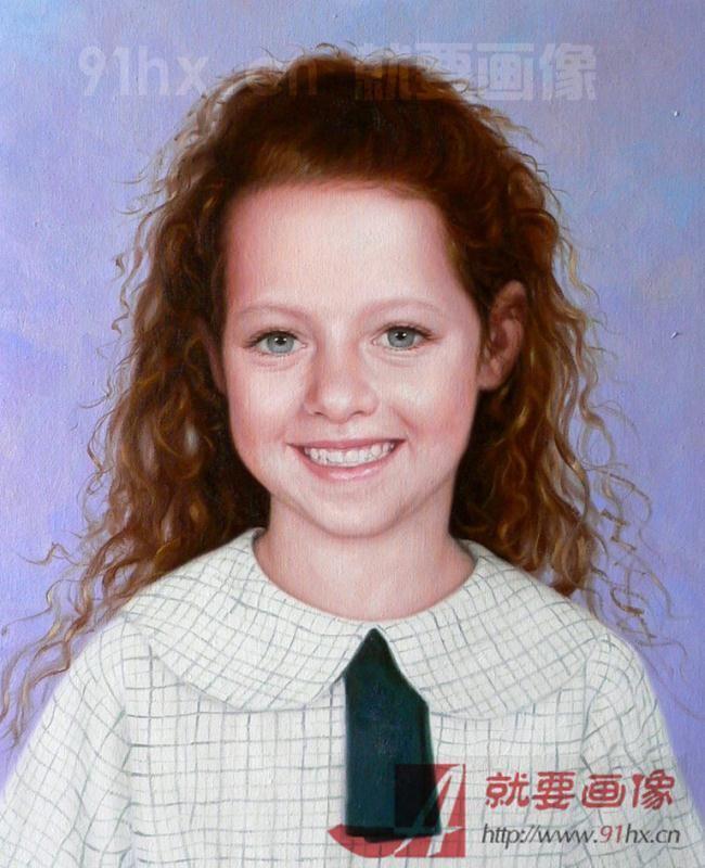 女儿生日快到了送女儿一幅以她照片画的肖像画