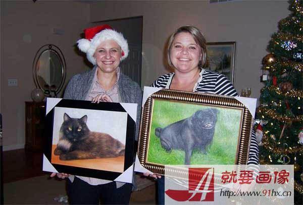宠物肖像画客人反馈过来的照片