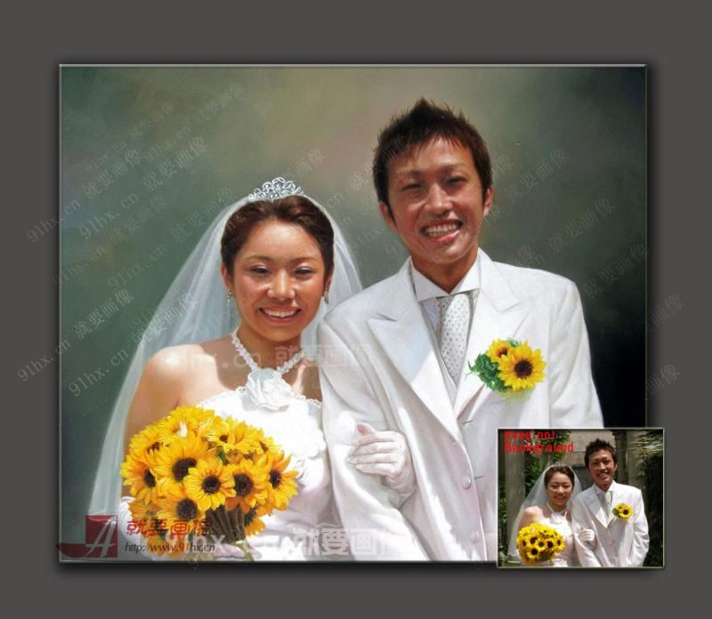画肖像-找人画一幅婚纱肖像