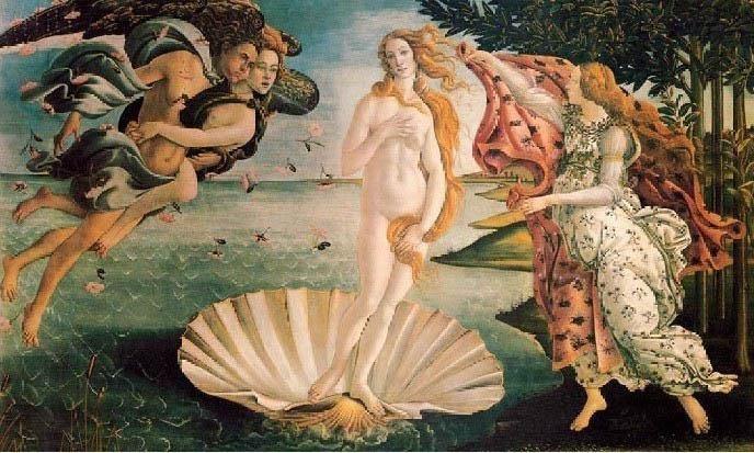 油画作品欣赏-维纳斯的诞生-波提切利图片