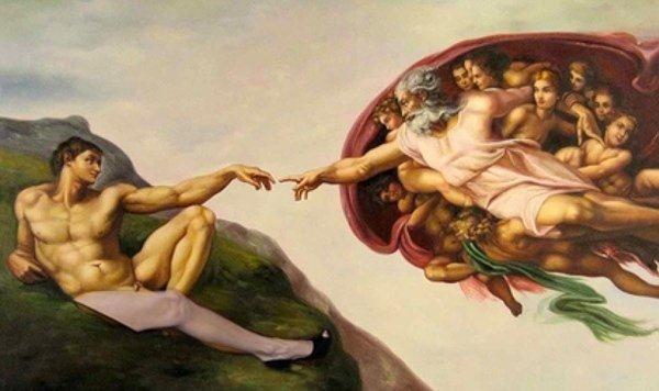 油画作品欣赏-创造亚当-米开朗基罗