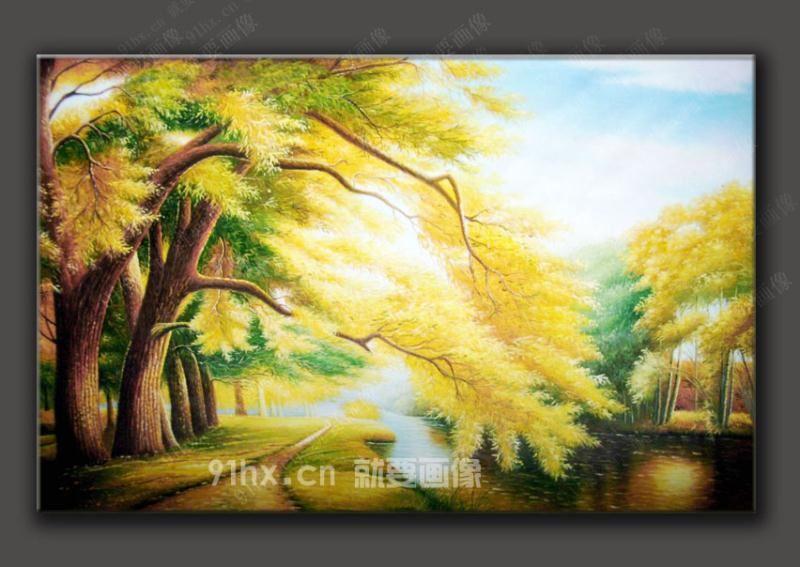 手绘金黄色大树客厅风景画客厅办公室风景油画