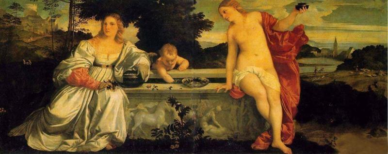 油画作品欣赏-天上的爱与人间的爱-提香