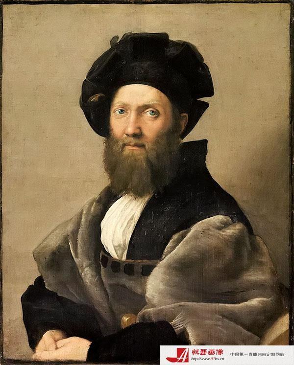 肖像伯爵别墅-拉斐尔《巴尔达萨雷人物像》万达美联排油画角图片