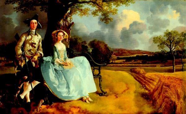 油画作品欣赏-安德鲁斯夫妇像-庚斯博罗