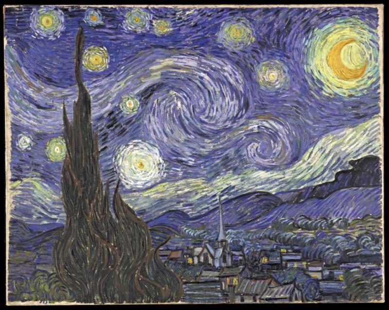 油画作品欣赏-星月夜-凡•高
