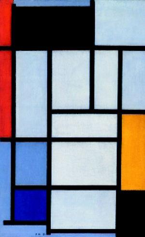 油画作品欣赏-红,白,蓝的菱形画-蒙德里安