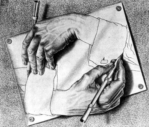 油画作品名称 名 称:《手画手》 作 者:埃舍尔 创作时间:1948 年 尺 寸:41  42cm 类 别:布面油画 收 藏:美国科尼丽亚凡罗斯福私人收藏 神奇的图形天才埃舍尔为我们创造了一个完全与众不同的绘画世界,《手画手》是他的代表性作品,画面上有两只手都正在执笔画画的手,初看平淡无奇,可是仔细看时,就会感以充满玄妙。 油画作品入选理由: 独一无二的数学画家,神奇无比的不可能世界。 发现数学背后美丽花园的天才画家埃舍尔的代表性作品之一。 一幅充满了矛盾和思辨意味,充斥着荒谬和真实的