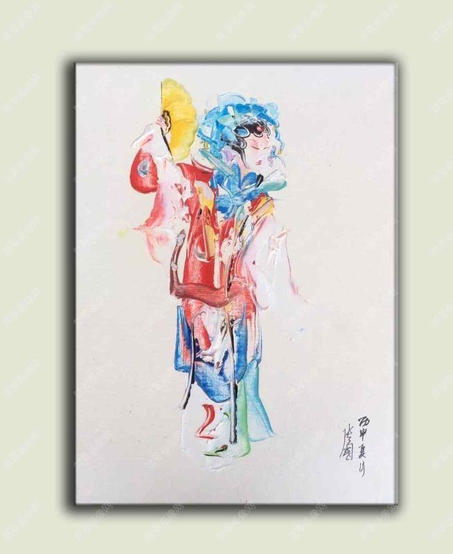 京剧花旦青衣油画抽象人物手绘油画
