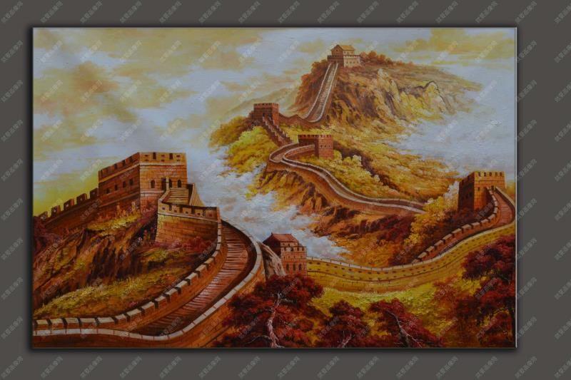 長城金秋風景寫生油畫大幅手繪油畫