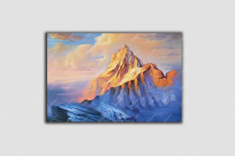 雪山風景油畫簡單好看客廳油畫