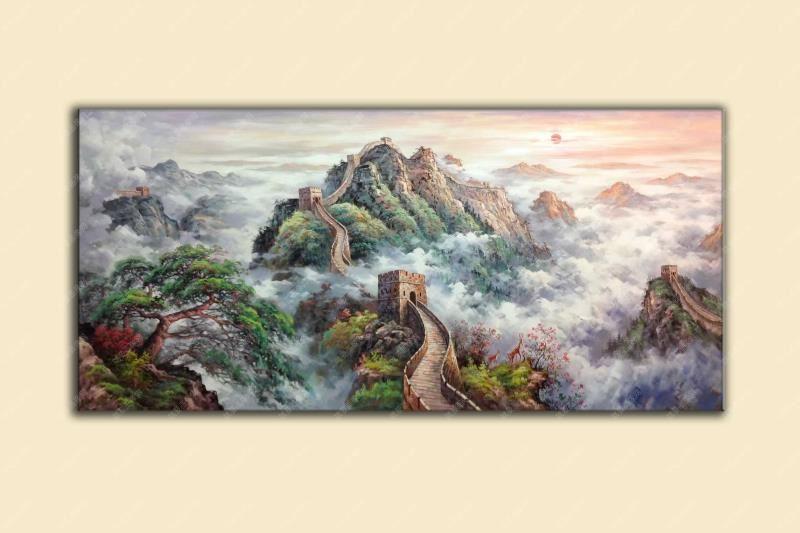 大氣長城手繪油畫風景油畫精品